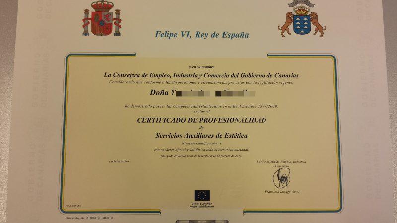 Modelo certificado de profesionalidad